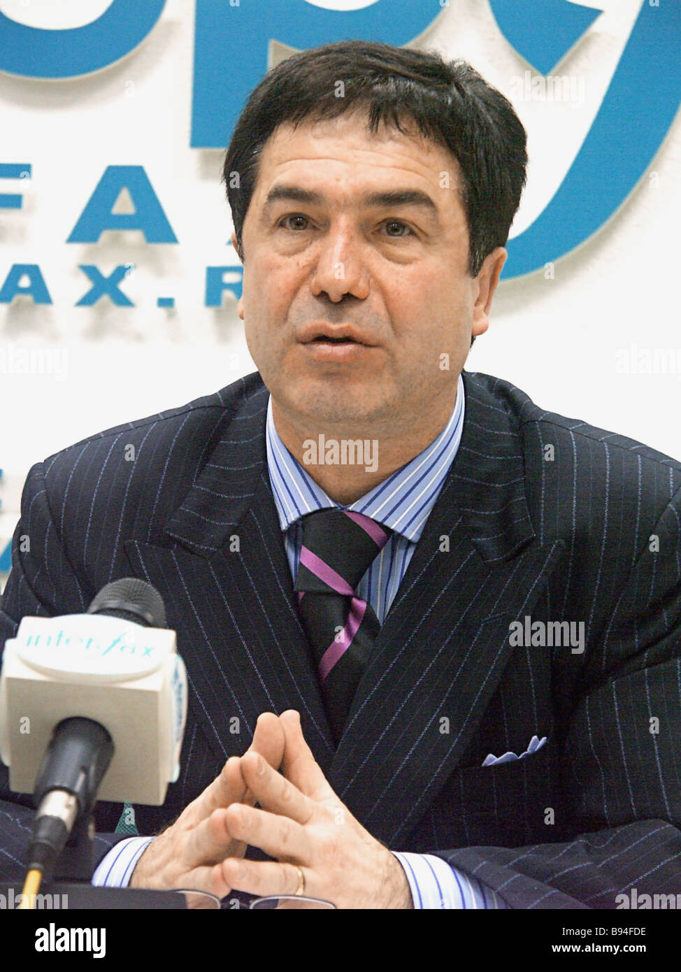 Anzori Aksentyev a candidate for Russian president at the news conference Anzori Aksentyev s Action Plan Three Enemies - Stock Image