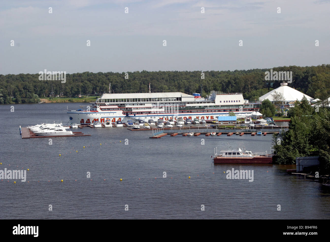 The Admiral luxury yachting club on the Klyazma Reservoir near Moscow before fire - Stock Image