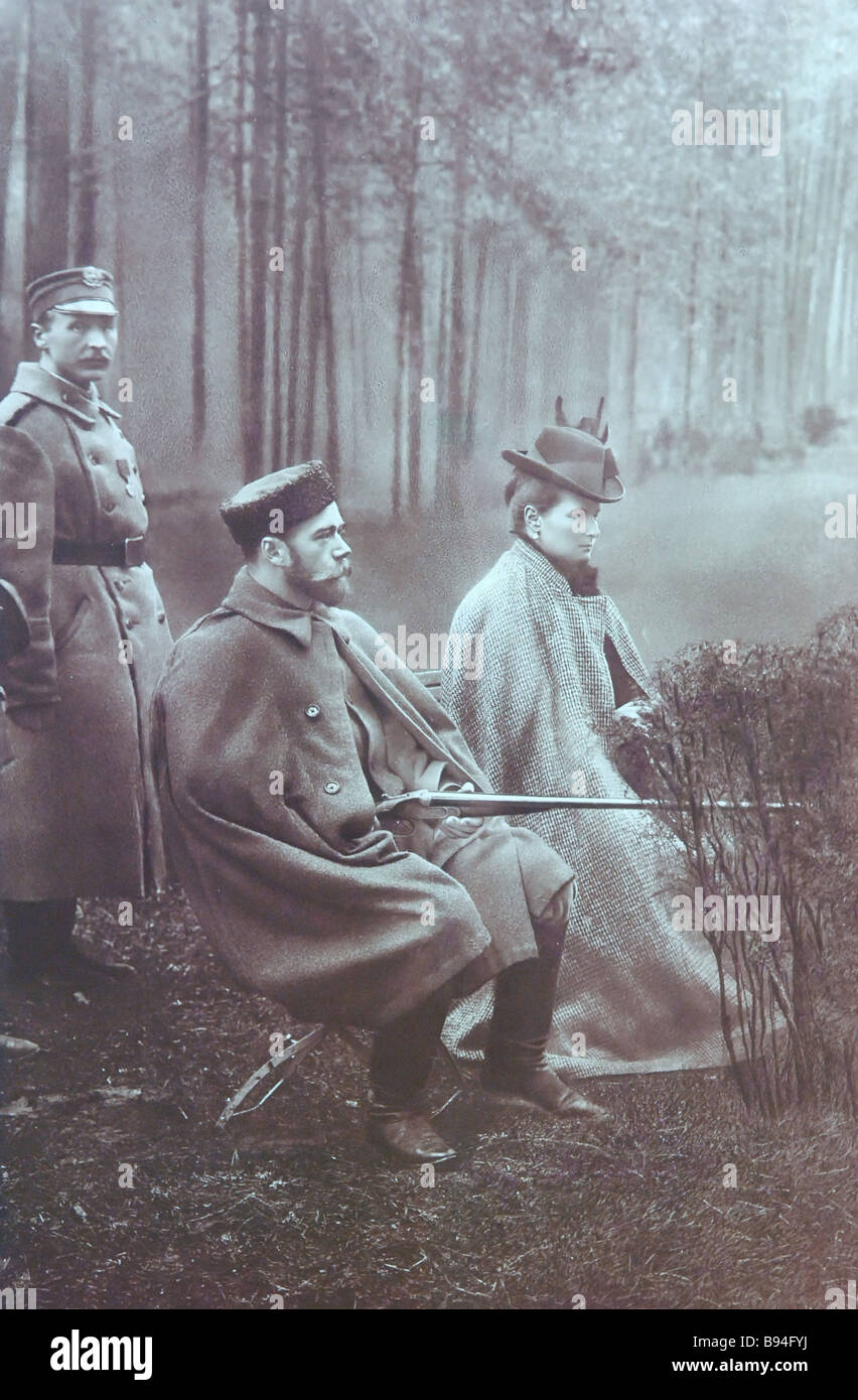 Reproduction of the photograph Emperor Nichoilas the Second and Empress Alexandra Fyodorovna Out Hunting early 1900 - Stock Image