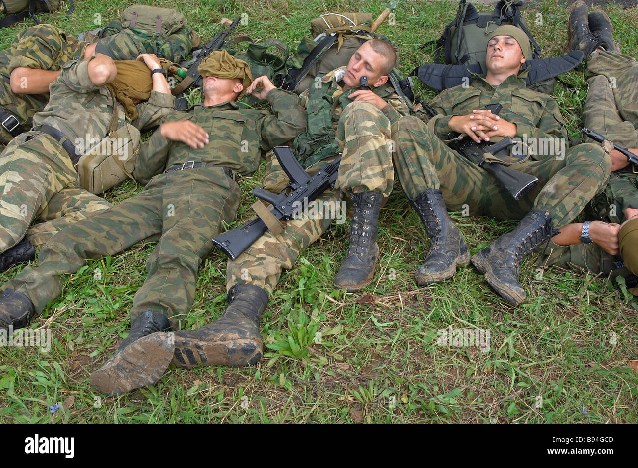 A scout unit after an operation The Taman motorized division The Moscow military district - Stock Image