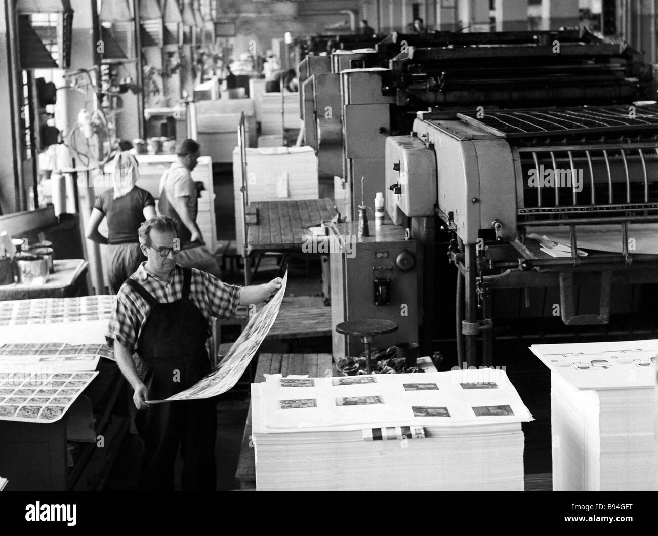 The offset department of the Pravda printing shop in 1970 Published in Moscow Pravda was the central Soviet daily - Stock Image