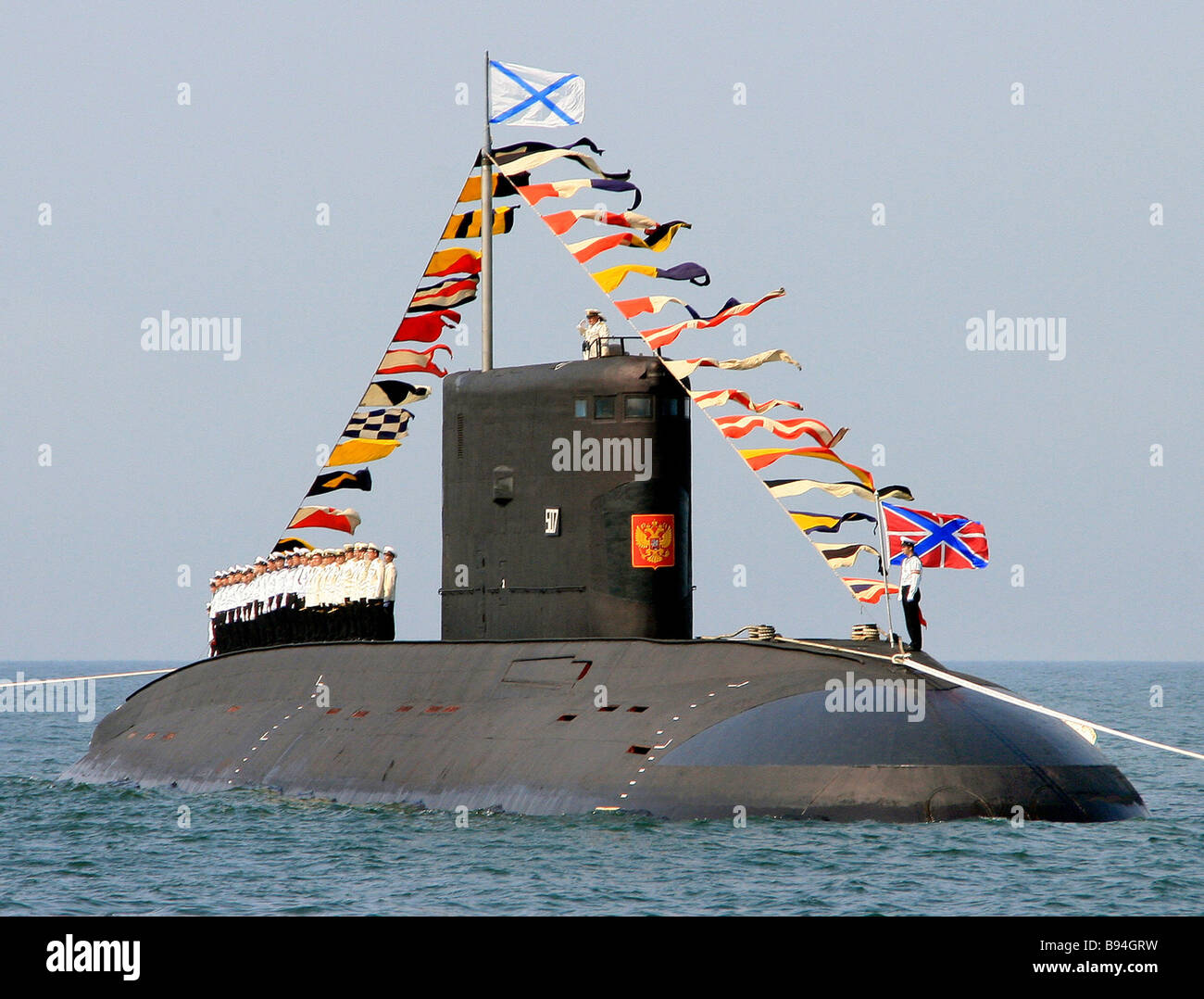 Varshavyanka Kilo class diesel powered submarine during all out rehearsal of Russian Navy Day celebrations - Stock Image