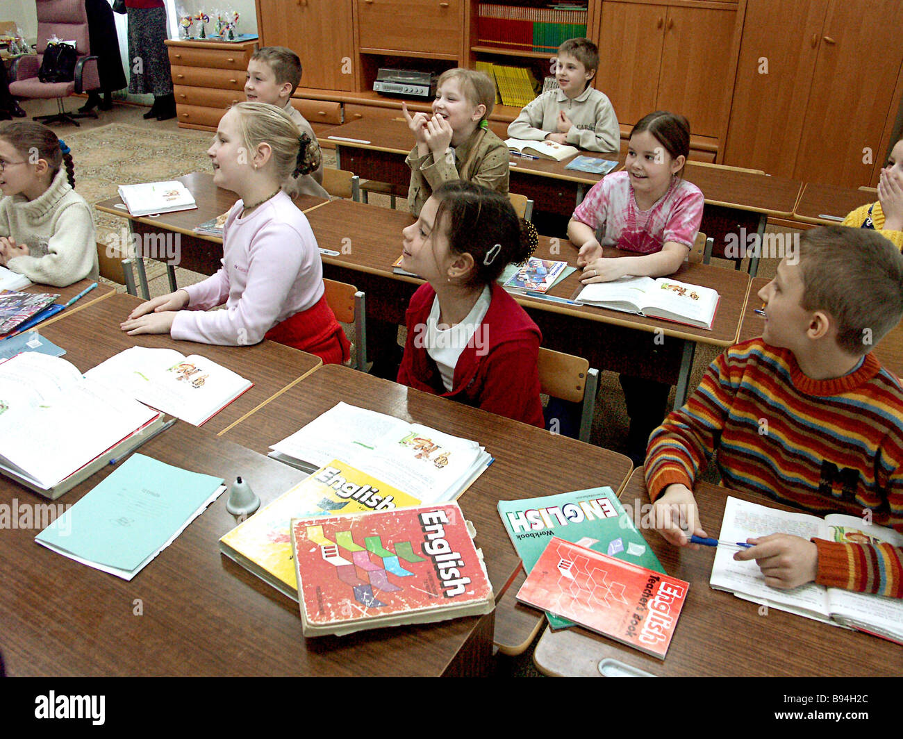 Children at Moscow Secondary School 1253 which specializes in foreign languages during an English class - Stock Image