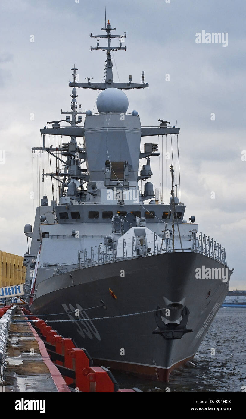 The corvette Steregushchy project 20382 Tigr at the 3rd International  Maritime Defense Show in St Petersburg