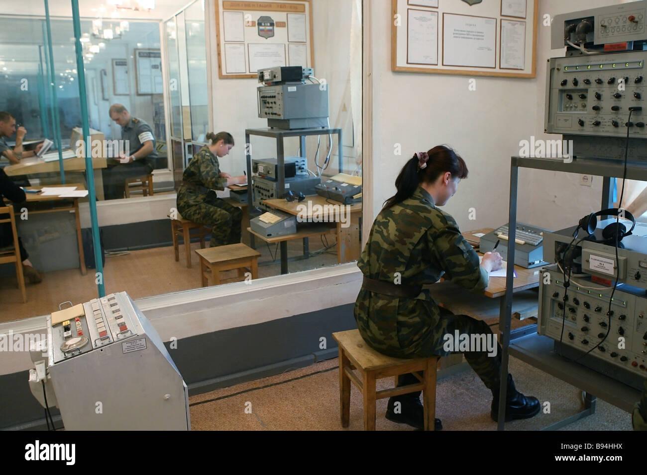 Communications training at the educational premises of the celebrated Orenburg missile division strategic missile - Stock Image