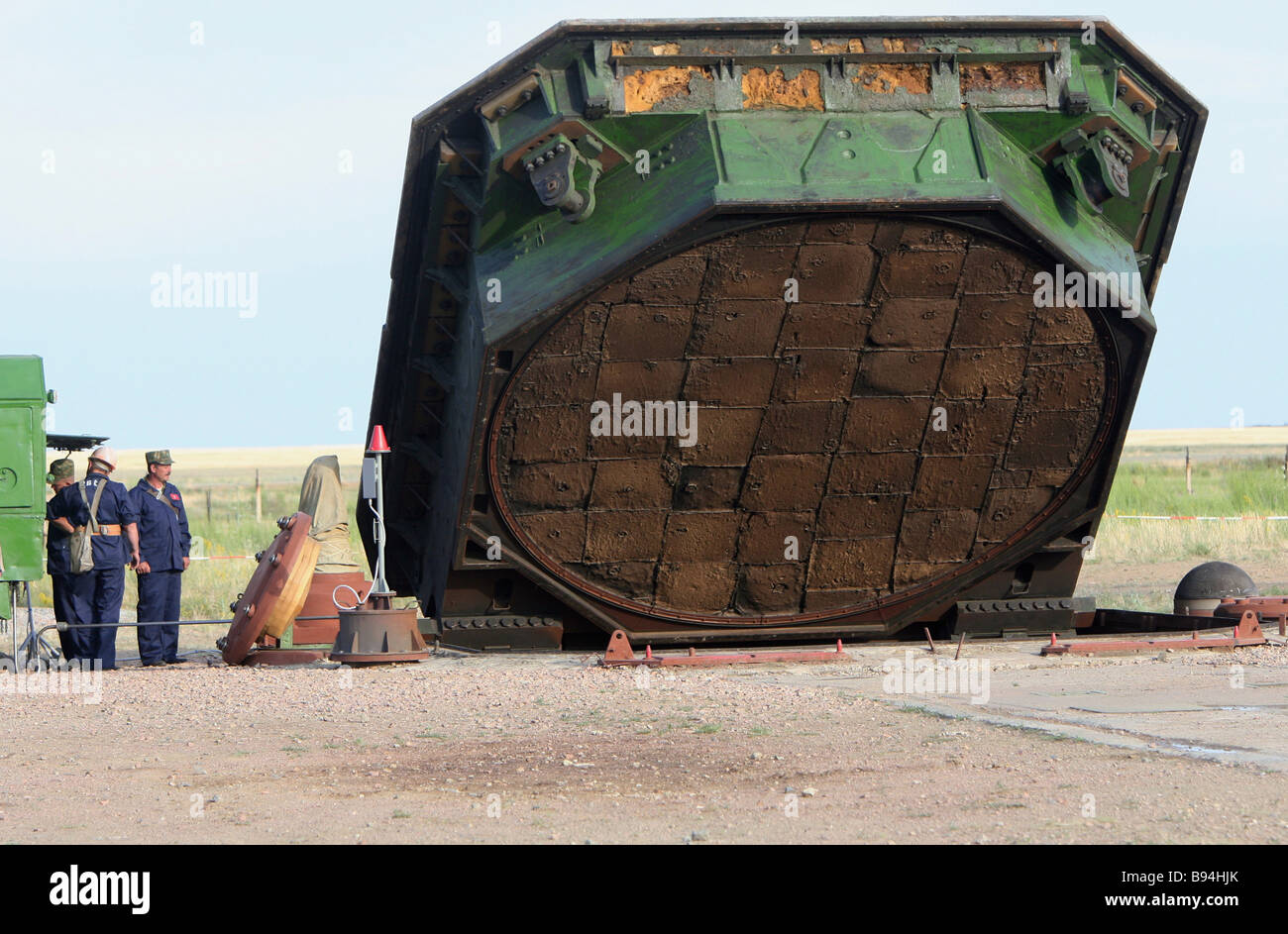 Lifting the cover of the RS 20 Voyevoda missile launching pad celebrated Orenburg missile division of the strategic - Stock Image