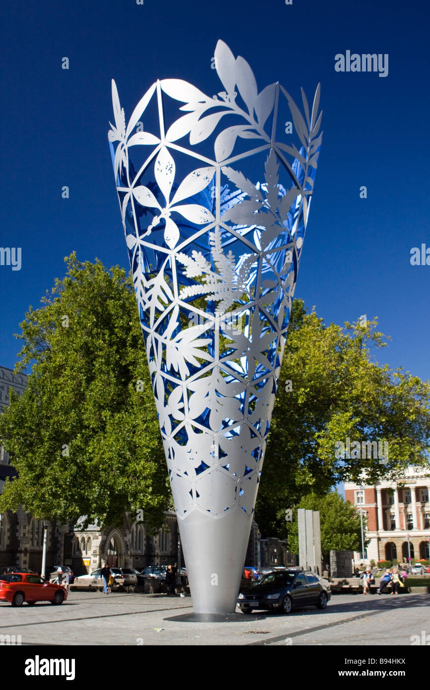 The Chalice Sculpture Cathedral Square Christchurch New Zealand - Stock Image