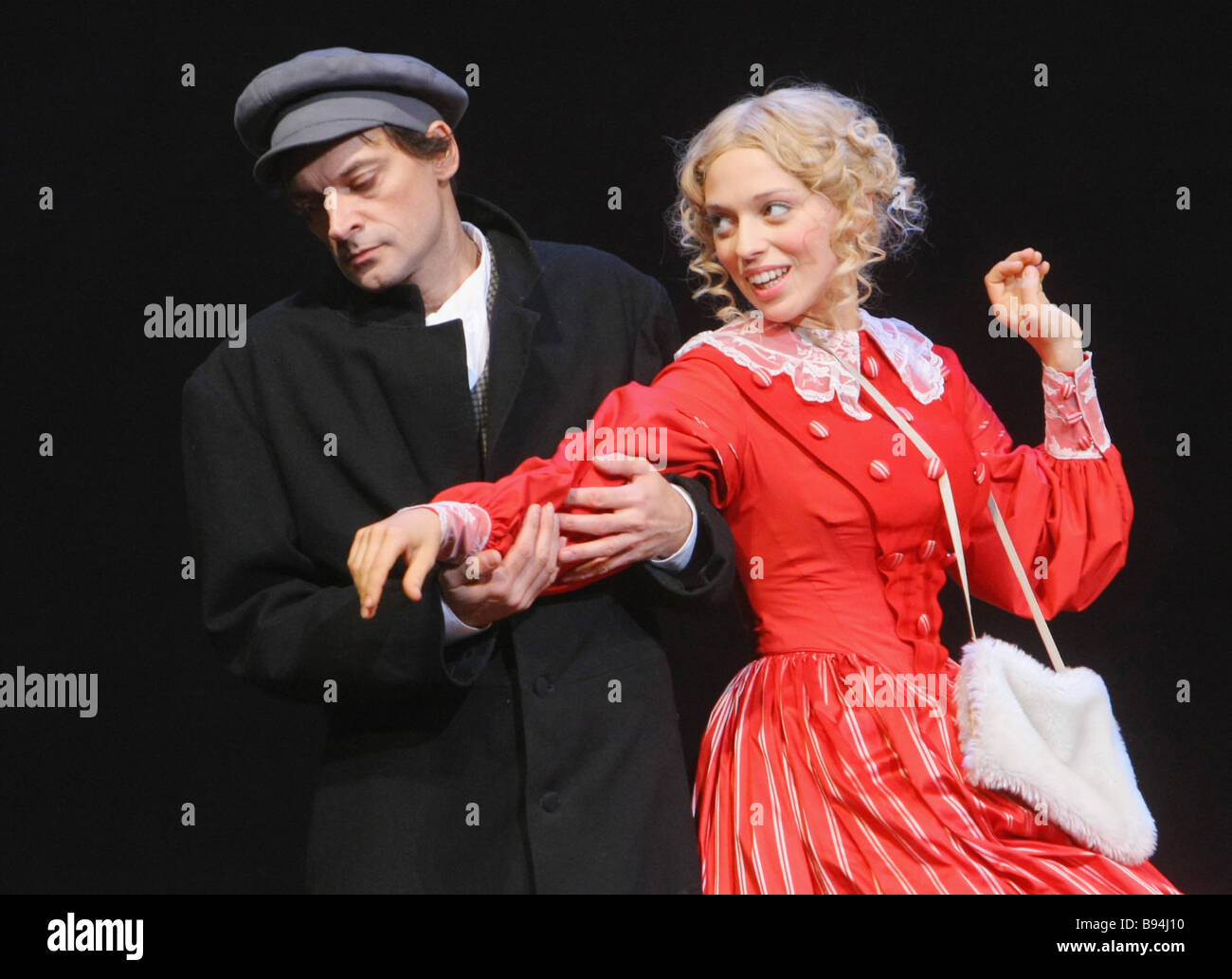 Yevgeny Redko as Vissarion Belinsky and Nelli Uvarova as Natalie Beer in the showcase of Tom Stoppard s The Coast - Stock Image