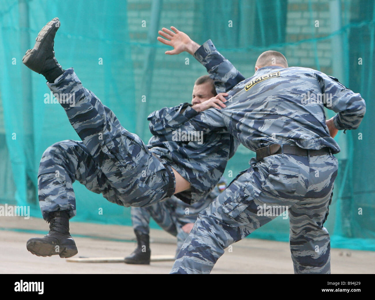 Exhibition performance on special police force Zubr training grounds - Stock Image