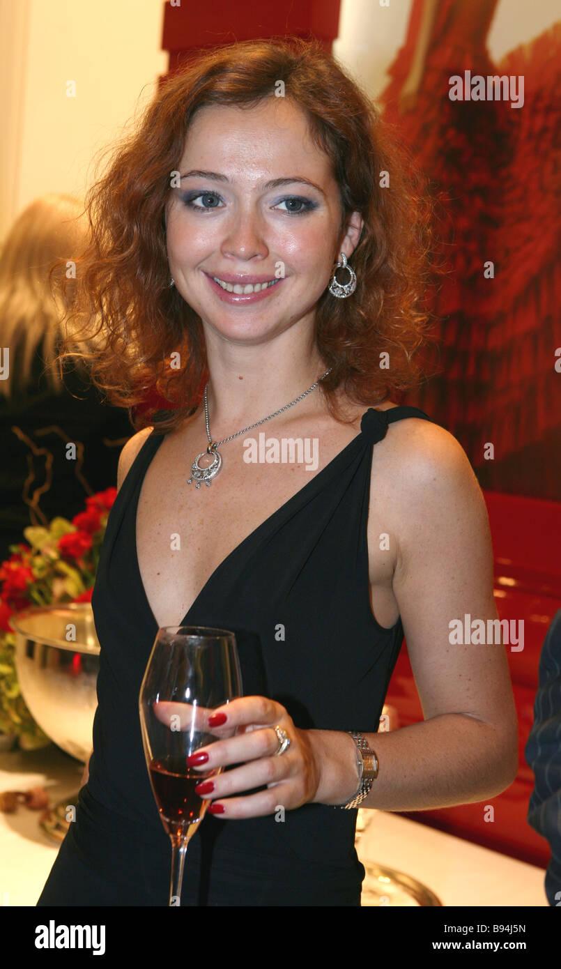 The glamorous jeweler s Carrera y Carrera opened a boutique at Moscow s Ritz Carlton Actress Yelena Zakharova at - Stock Image