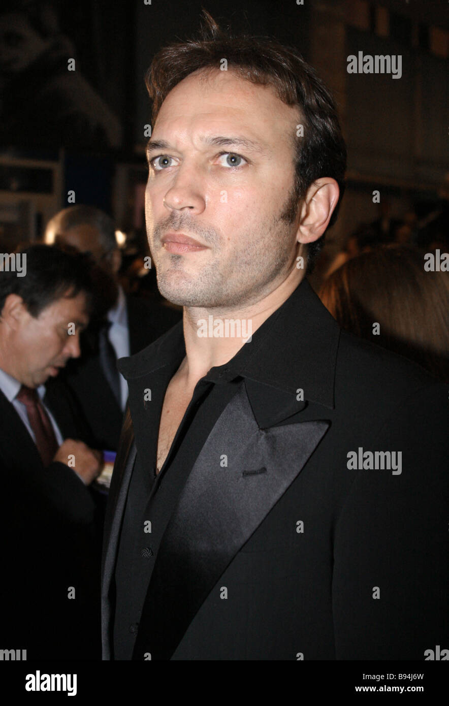 Vincent Perez stars in the title role of The Apocalypses Code in the movie theater Puskinsky before the premiere - Stock Image