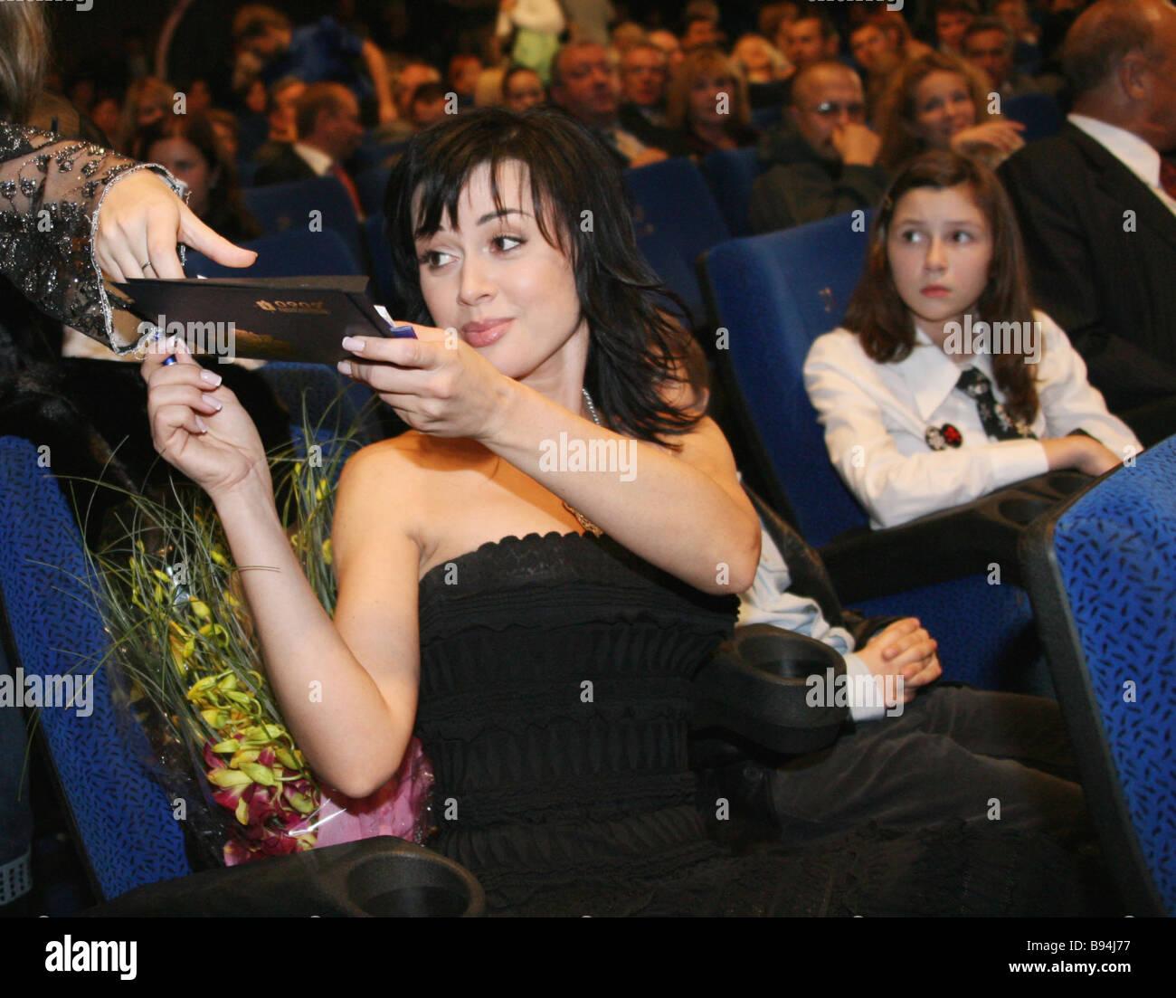Anastasia Zavorotnyuk stars title role of The Apocalypses Code in the movie theater Puskinsky before the premiere - Stock Image