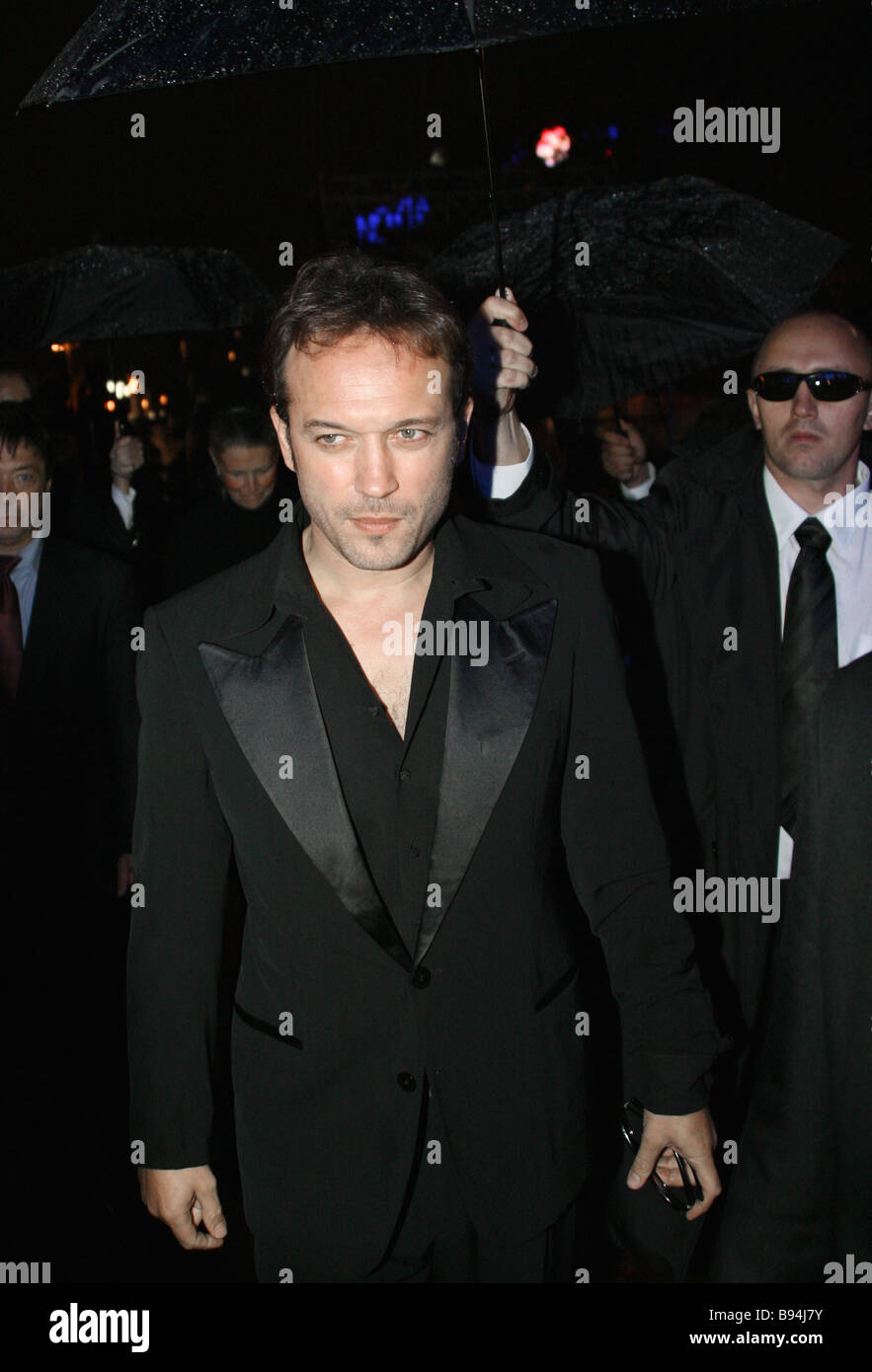 Vincent Perez stars the title role of The Apocalypses Code in the movie theater Puskinsky before the premiere of - Stock Image
