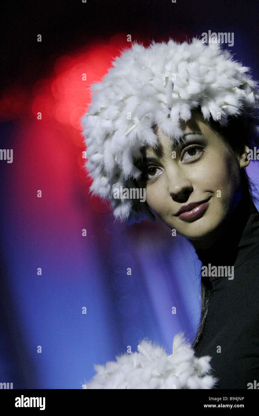 At the lady s fur clothes show as part of the 1st International Fur Festival in Moscow - Stock Image