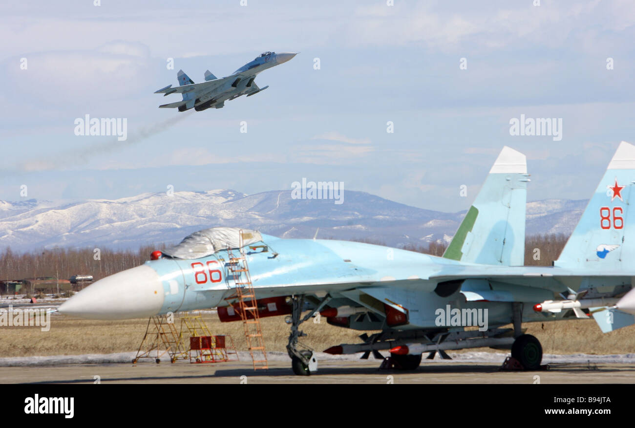 A Sukhoi Su 27 SM Flanker fighter interceptor on the territory of the Komsomolsk on Amur Aviation Production Association - Stock Image