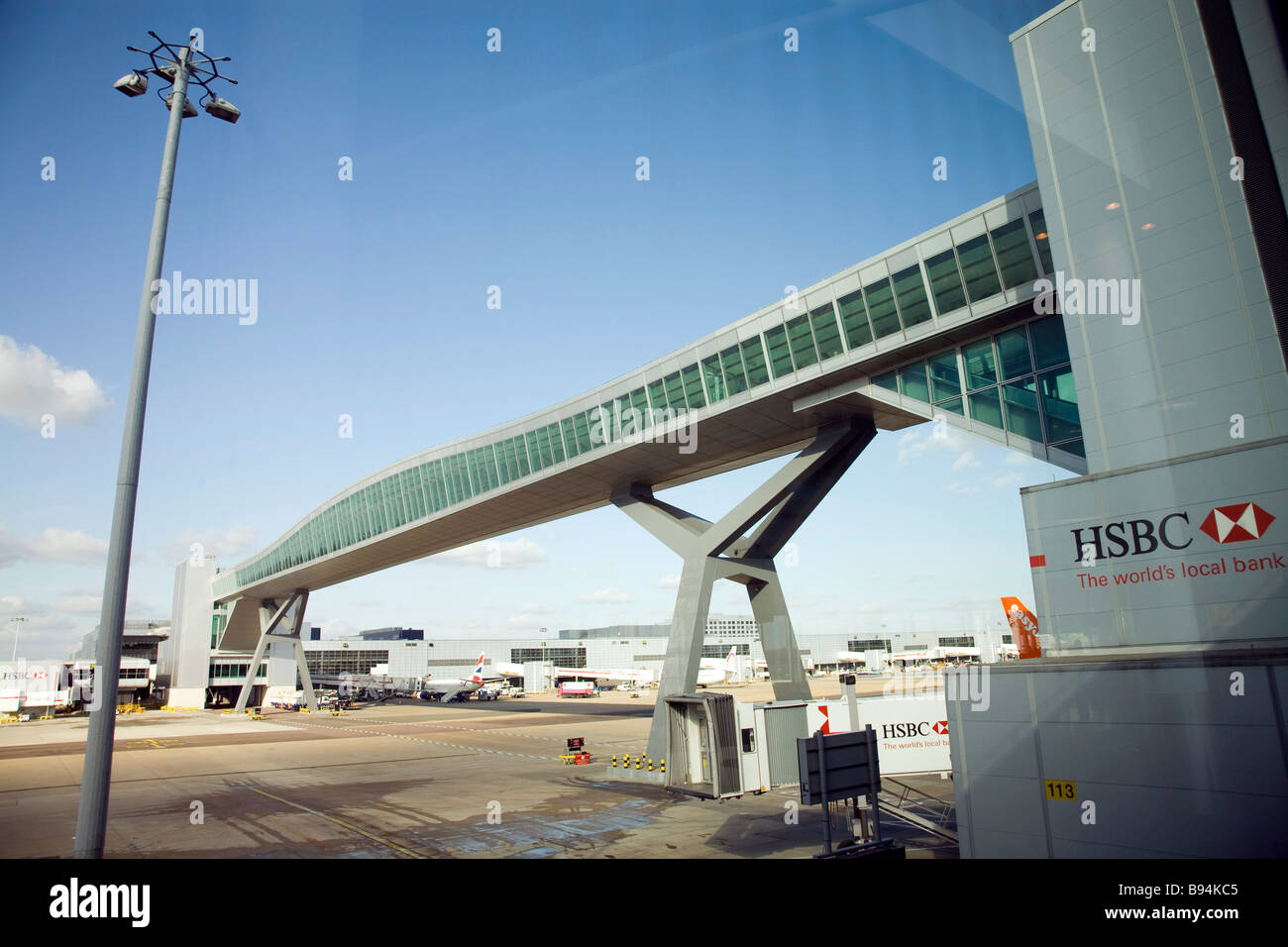 London Gatwick Airport passenger footbridge. - Stock Image
