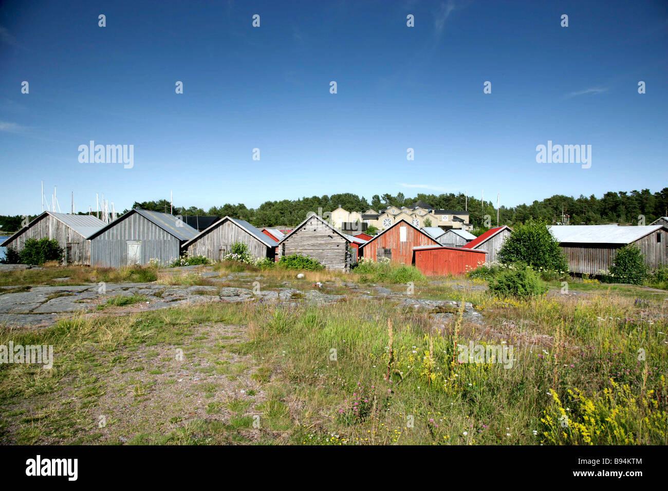 Boatsheds in Aland Stock Photo