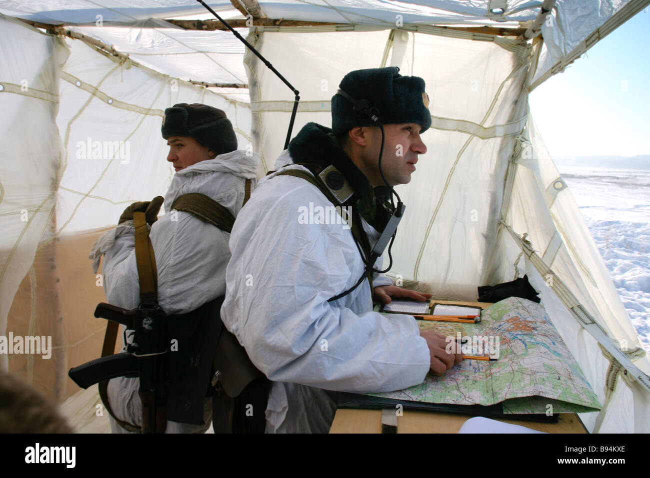 At the command post during a 137th Airborne Regiment exercise near Vyazma in Central Russia - Stock Image