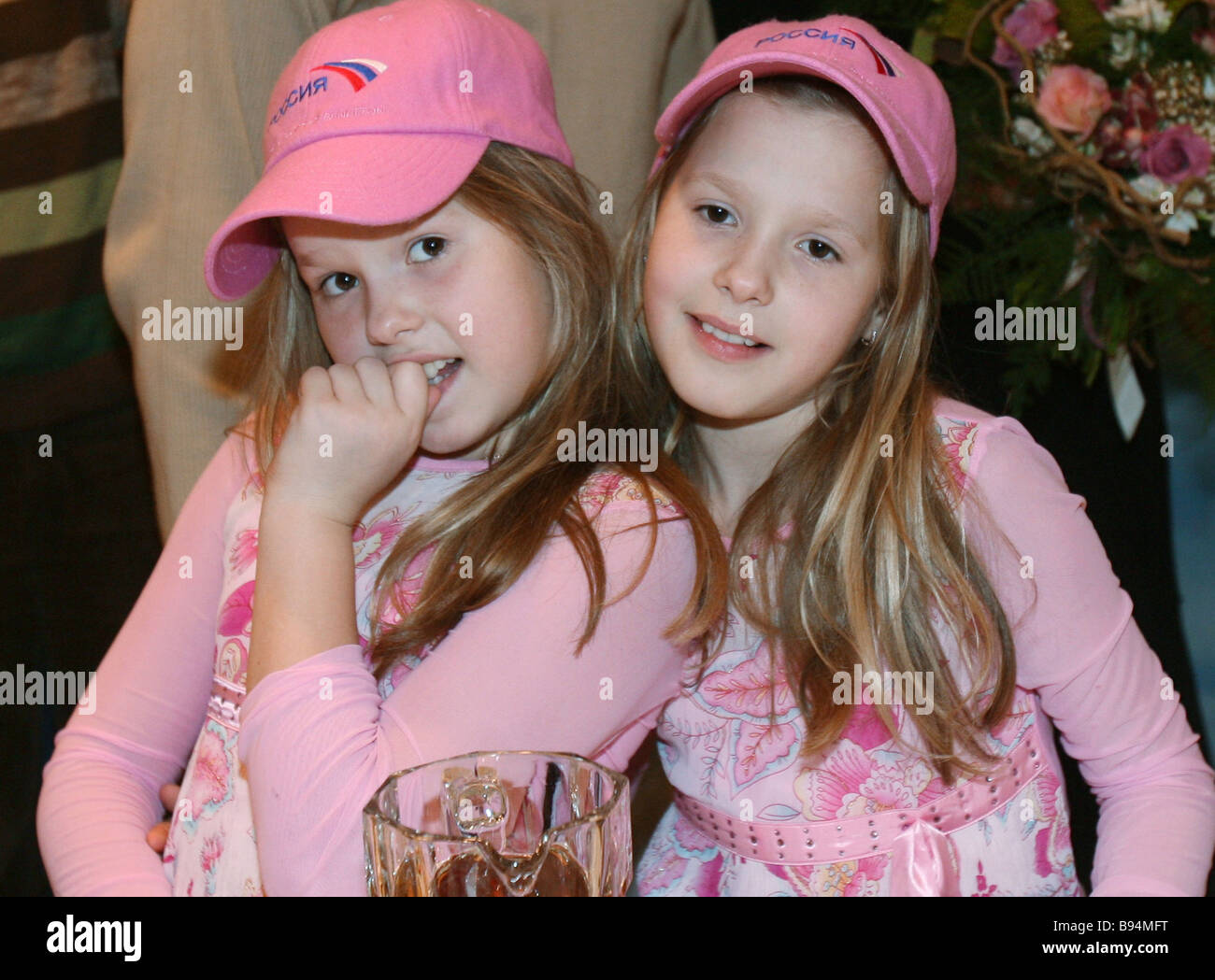 The Tolmachev twins children Eurovision winners visit the Rossia television channel studio Masha left and Nastya - Stock Image
