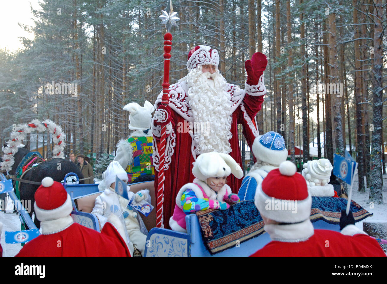 Father Frost blesses a New Year tree to be delivered to Moscow from Veliky Ustyug in European Russia s north by - Stock Image