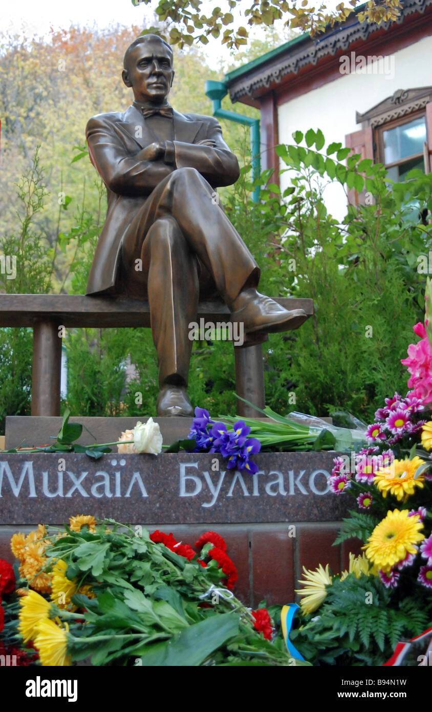 Unveiling the monument to the famous author Mikhail Bulgakov at Andreyevsk Spusk in Kiev - Stock Image