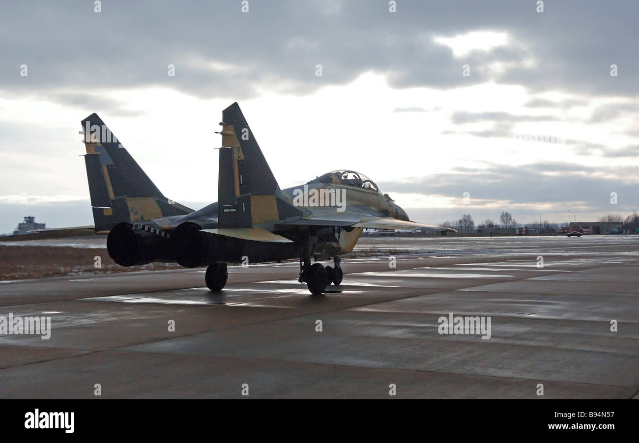 A MiG 29KUB shipborne two seater fighter - Stock Image