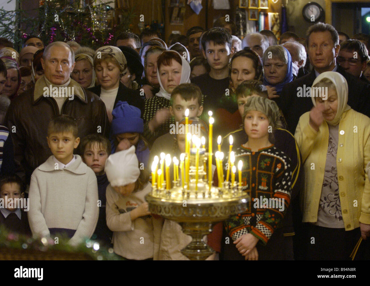 Russian President Vladimir Putin at the Nativity service in the Church of the Nativity of the Blessed Virgin Gorodnya - Stock Image
