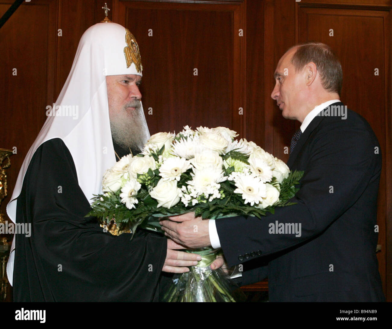 Russian President Vladimir Putin congratulated Patriarch Alexis II of Moscow and All Russia on the 15th anniversary - Stock Image
