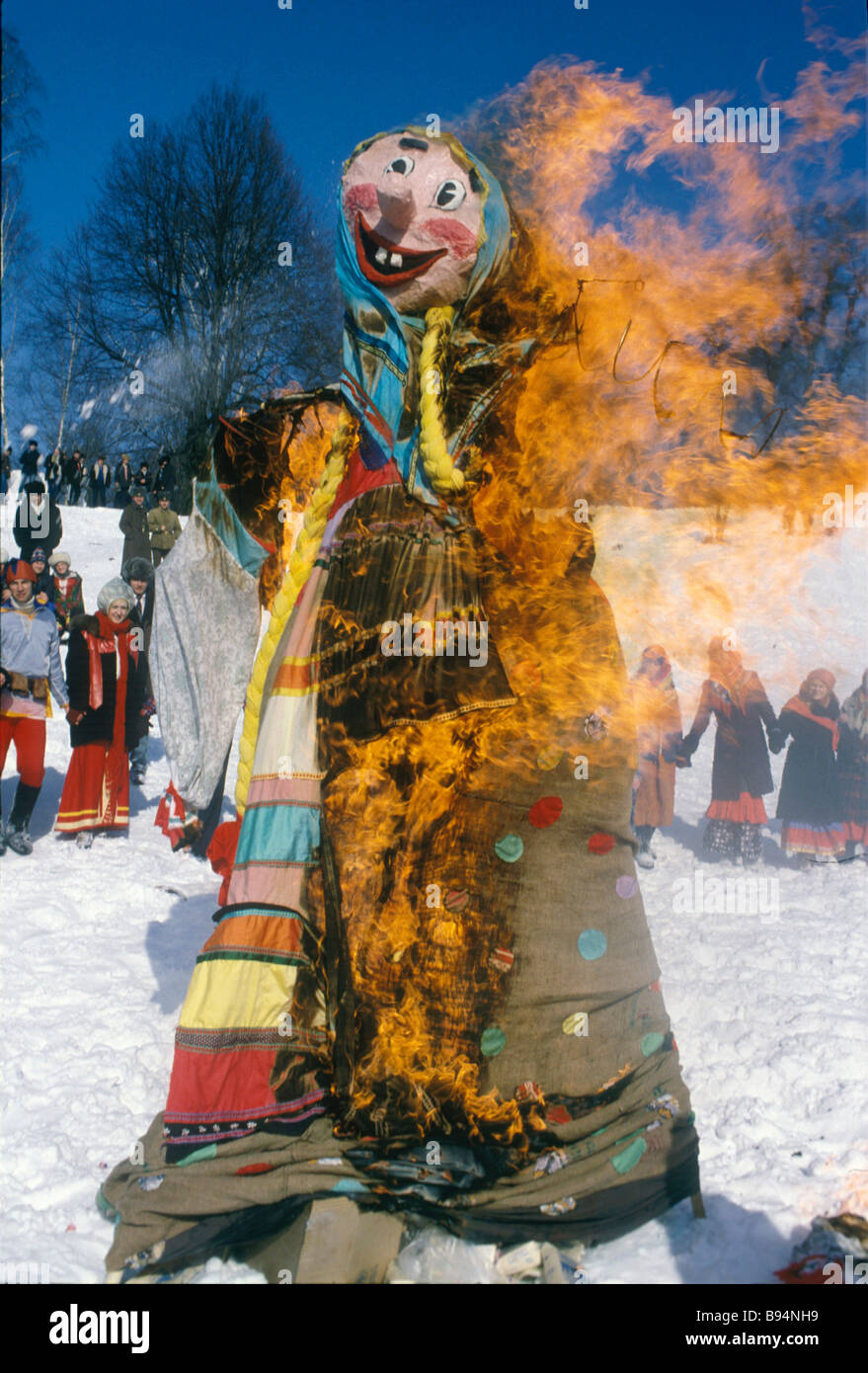 Burning effigy on Shrovetide a Russian festival at the end of the winter season - Stock Image