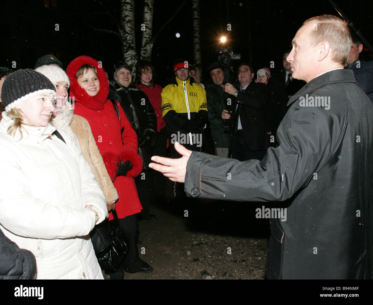 Russian President Vladimir Putin right meeting with residents of the city of Mirny Arkhangelsk Region - Stock Image