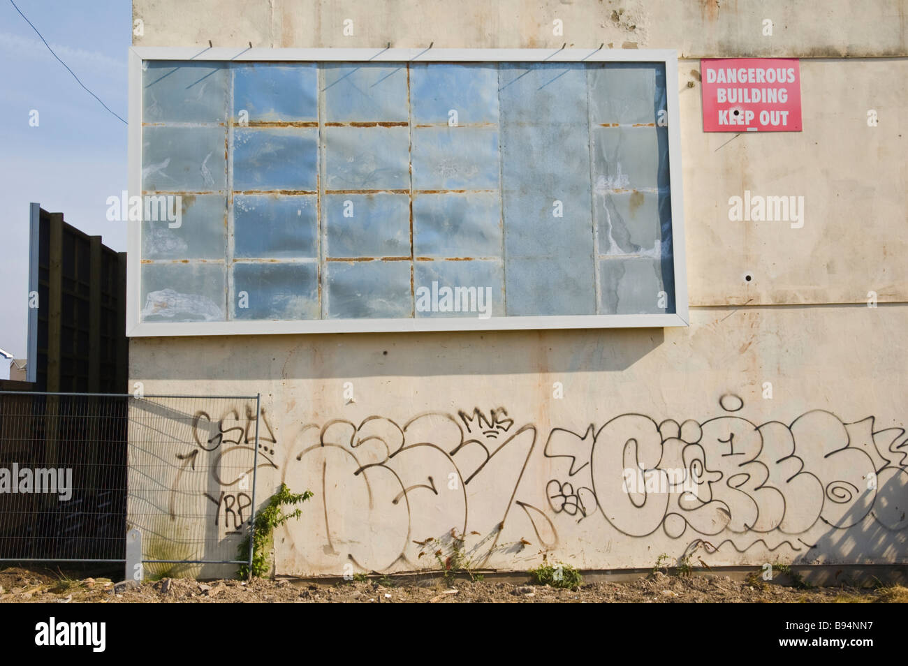 Empty advertising billboard on derelict building in Newport South Wales UK - Stock Image