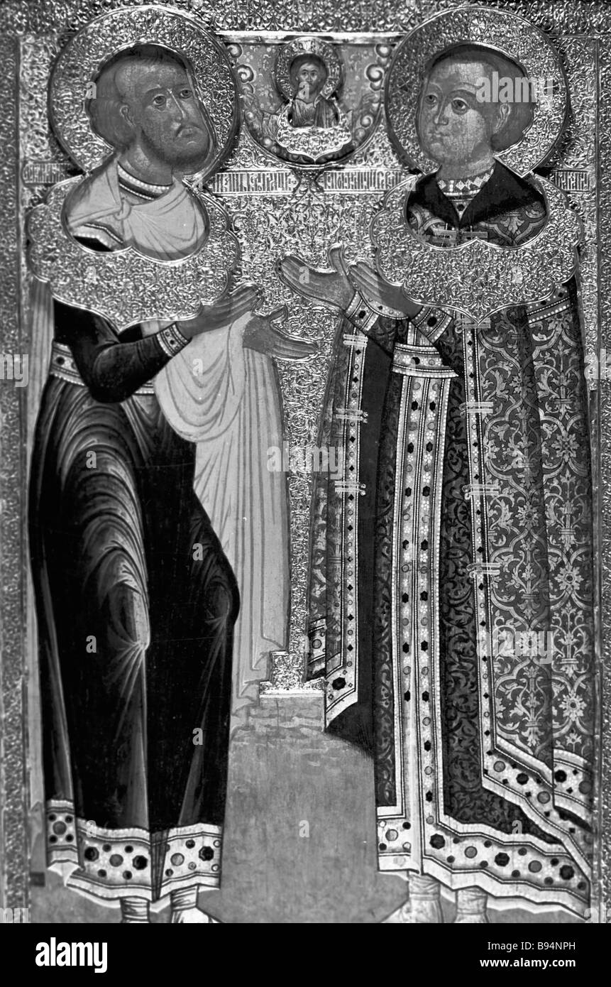 Icon St John of Belgorod and Pious Tsarevich Ioann Mikhailovich from the St Archangel Cathedral of the Moscow Kremlin Stock Photo