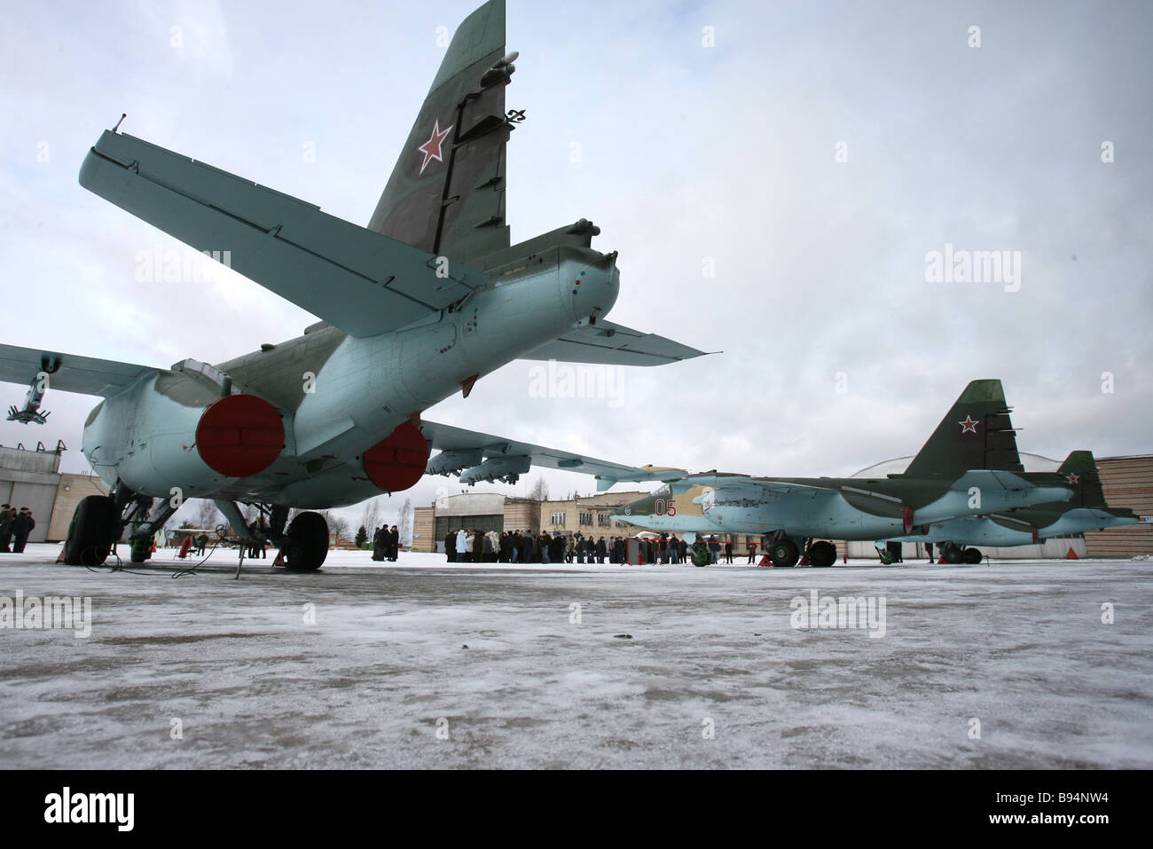 The first six Su 25 SM planes updated at the Russian Air Force Aircraft Repair Works being passed to the Air Force Stock Photo