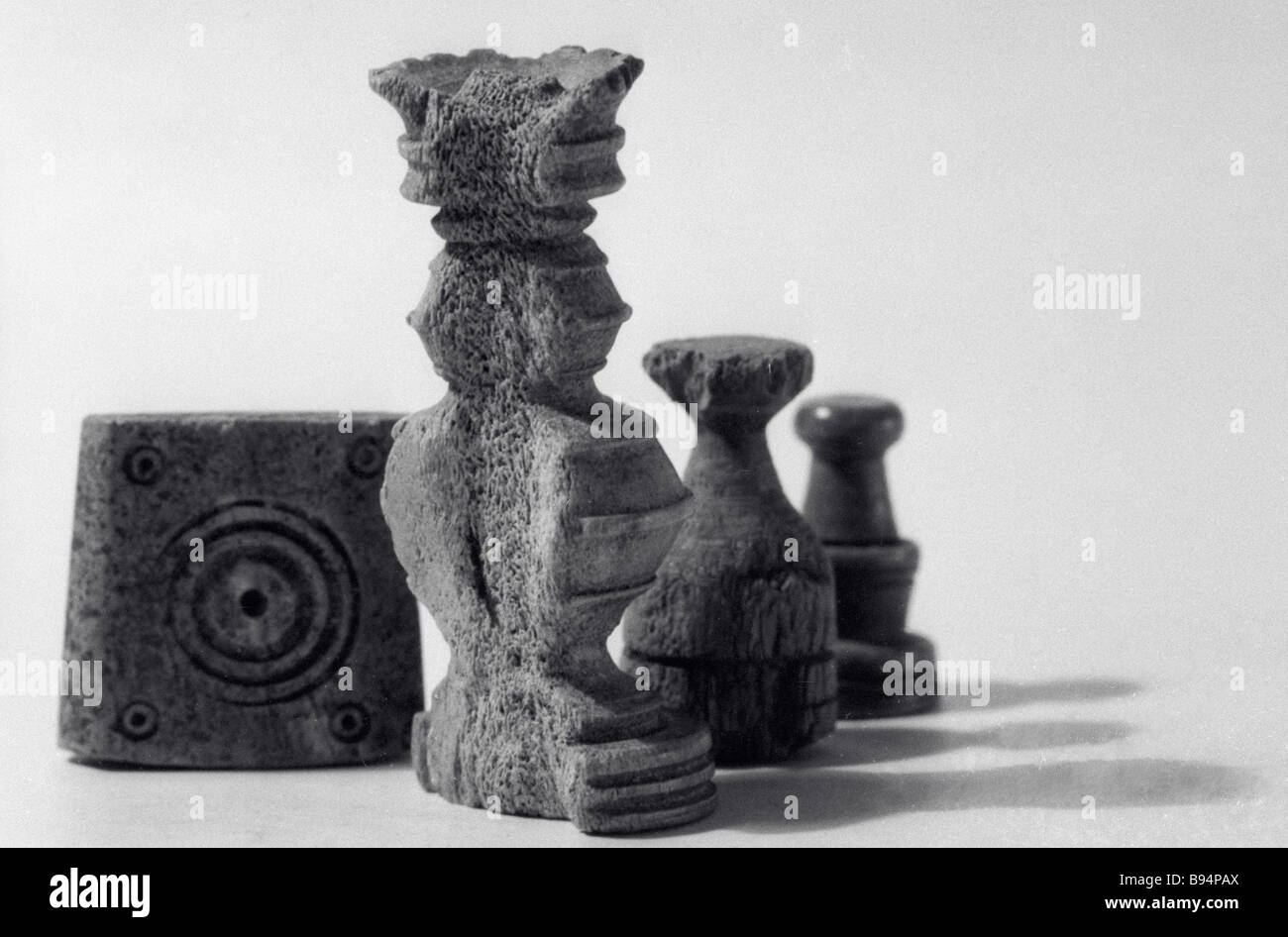 These 16th or early 17th century chessmen and a die are exhibited in the Moscow History and Reconstruction Museum - Stock Image