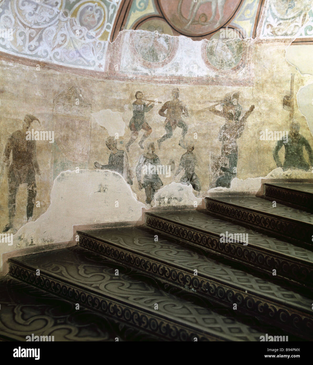 Skomorokhs histrionics St Sophia s Cathedral mural - Stock Image