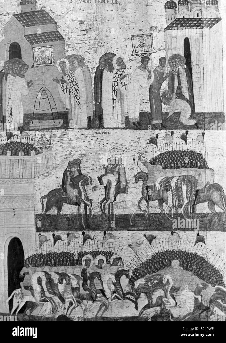 The Battle of the Novgorod and Suzdal Armies Icon Novgorod 15th century - Stock Image