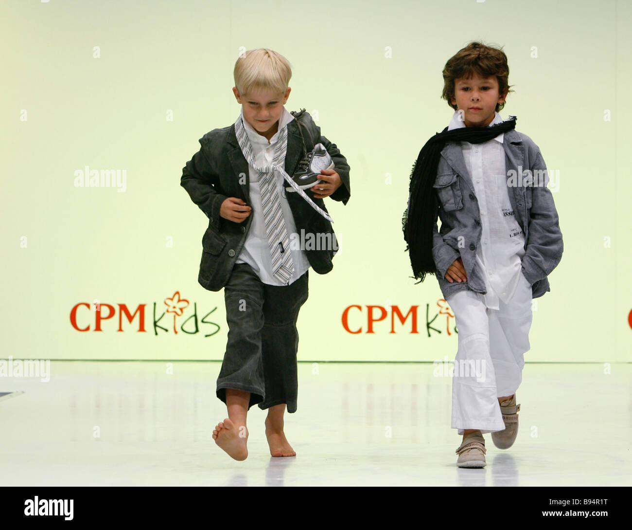 Infant models children s fashion show at the International Trade Center in Krasnaya Presnya - Stock Image