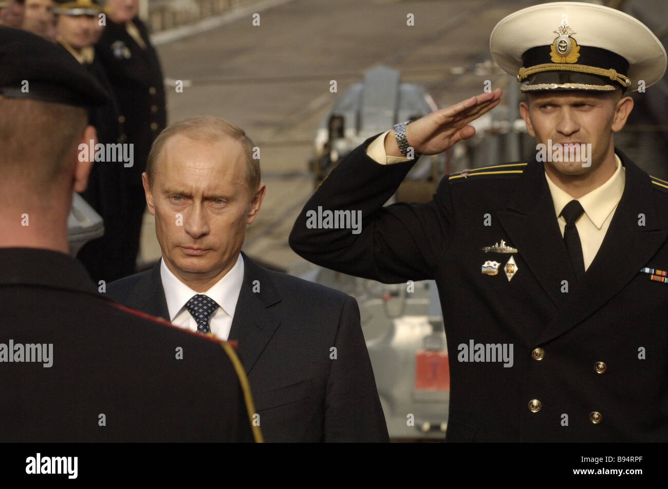 Russian President Vladimir Putin aboard the Nastoichivy destroyer the flagship of the Baltic Fleet - Stock Image