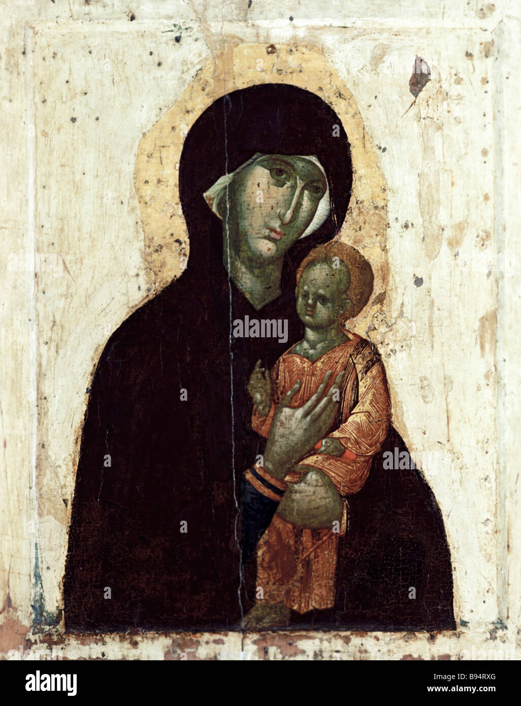 Reproduction of the 14th century second half icon Our Lady of Pimen - Stock Image