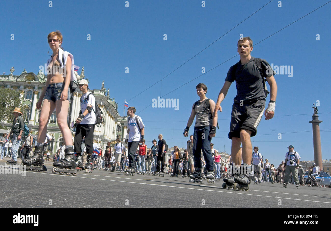 A Sport Journalists Day roller skating race in St Petersburg gathered young people from all over the city Stock Photo
