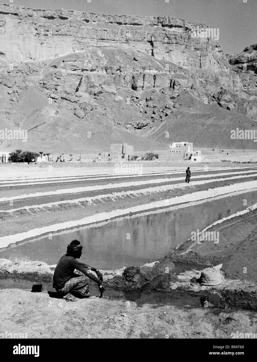 Irrigational system Bore agrarian farm Yemen - Stock Image