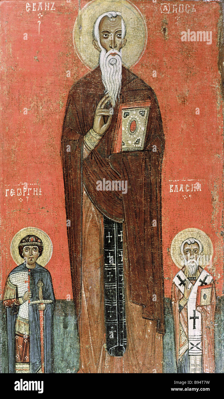Replication of Evan Georgiy and Vlasiy icon late 13th century State Russian museum collection Novgorod school - Stock Image