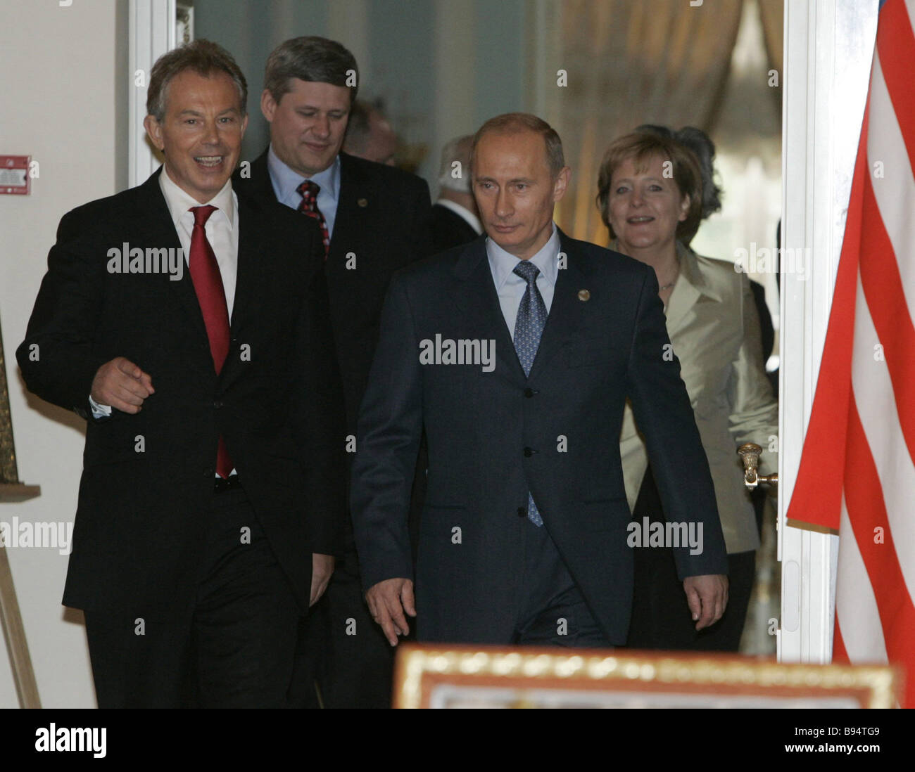 Russian President Vladimir Putin British Prime Minister Tony Blair foreground right to left German Federal Chancellor Stock Photo
