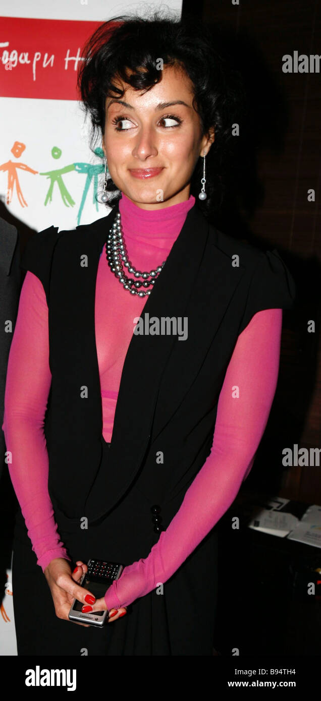 Television anchor Tina Kandelaki during a charity evening in the GQ Bar Moscow - Stock Image