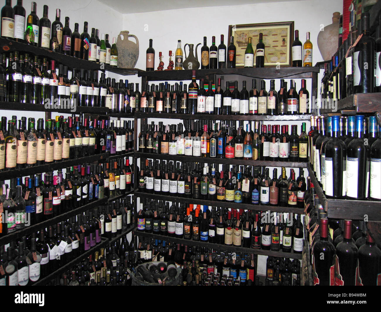 Collection of Bulgarian wines in the Queens s Wine House Balchik Palace architectural estate - Stock Image