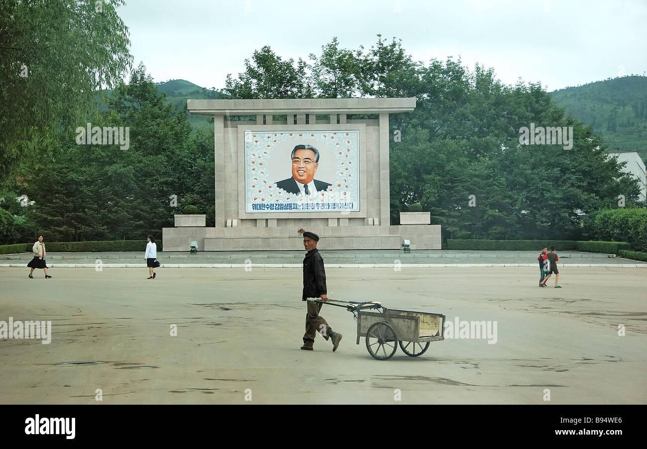 A portrait of Kim Il sung in Najin North Korea - Stock Image