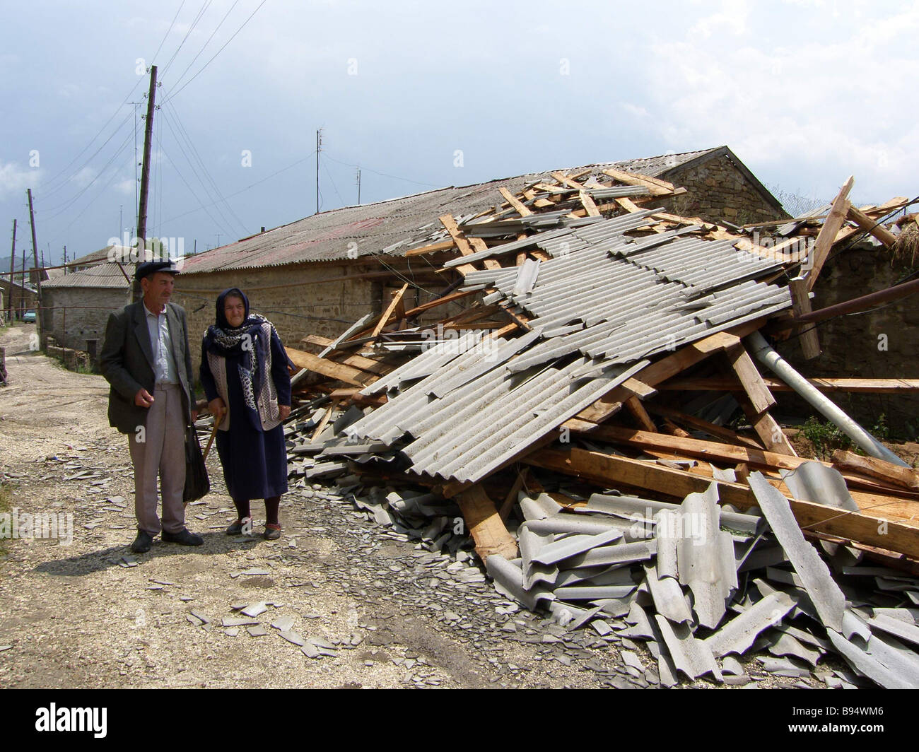 Hail and showers badly damaged the Dagestani village Urakhi North Caucasus There are roofs to repair and electric - Stock Image