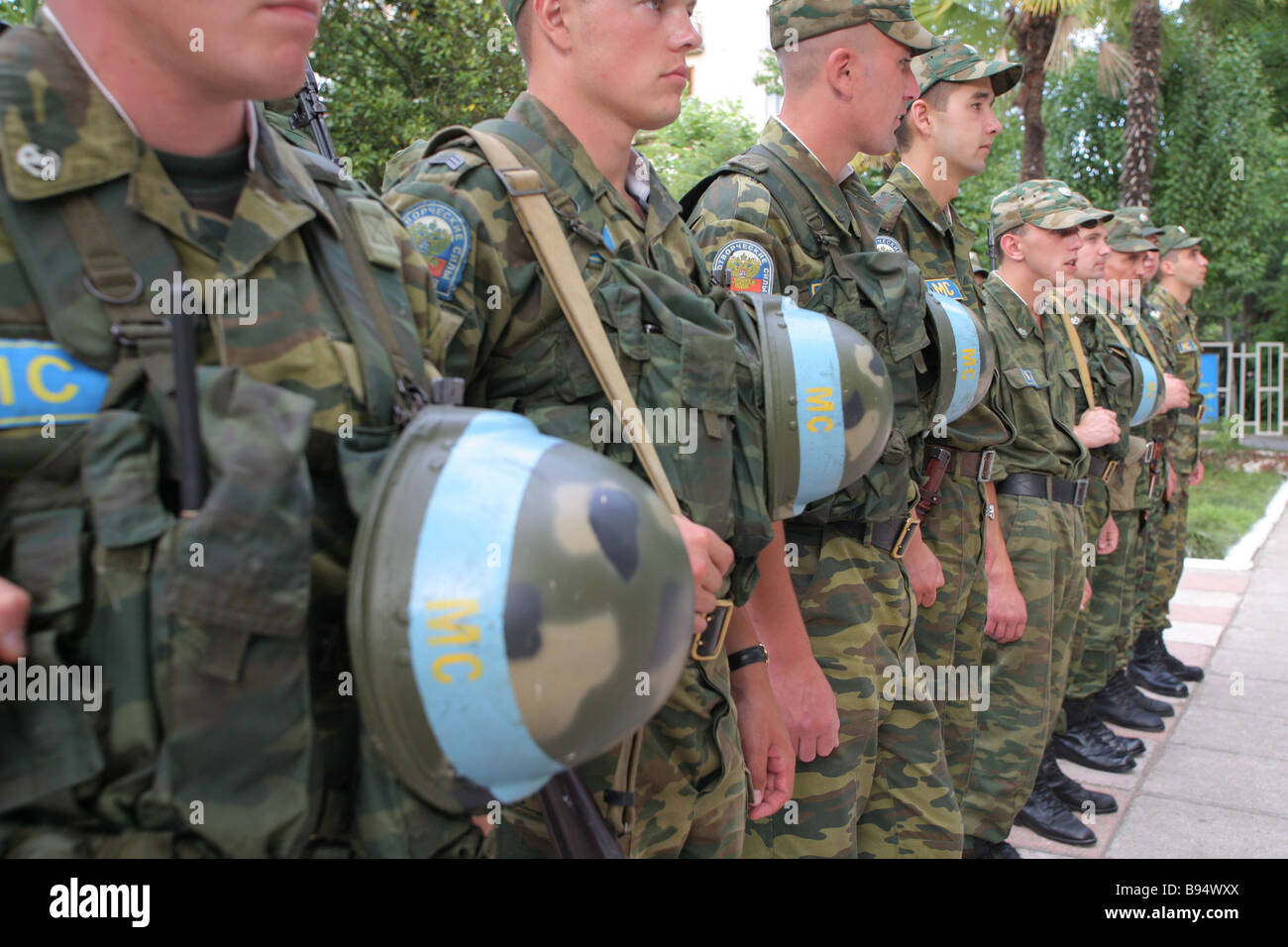 Posting sentries at the Joint Peacekeeping Staff HQ in Sukhumi Abkhaz capital - Stock Image
