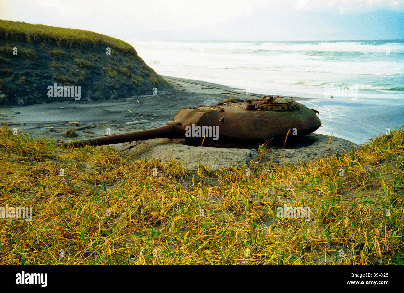 Fixed tank weapon emplacement on Iturup island the Sakhalin Region - Stock Image