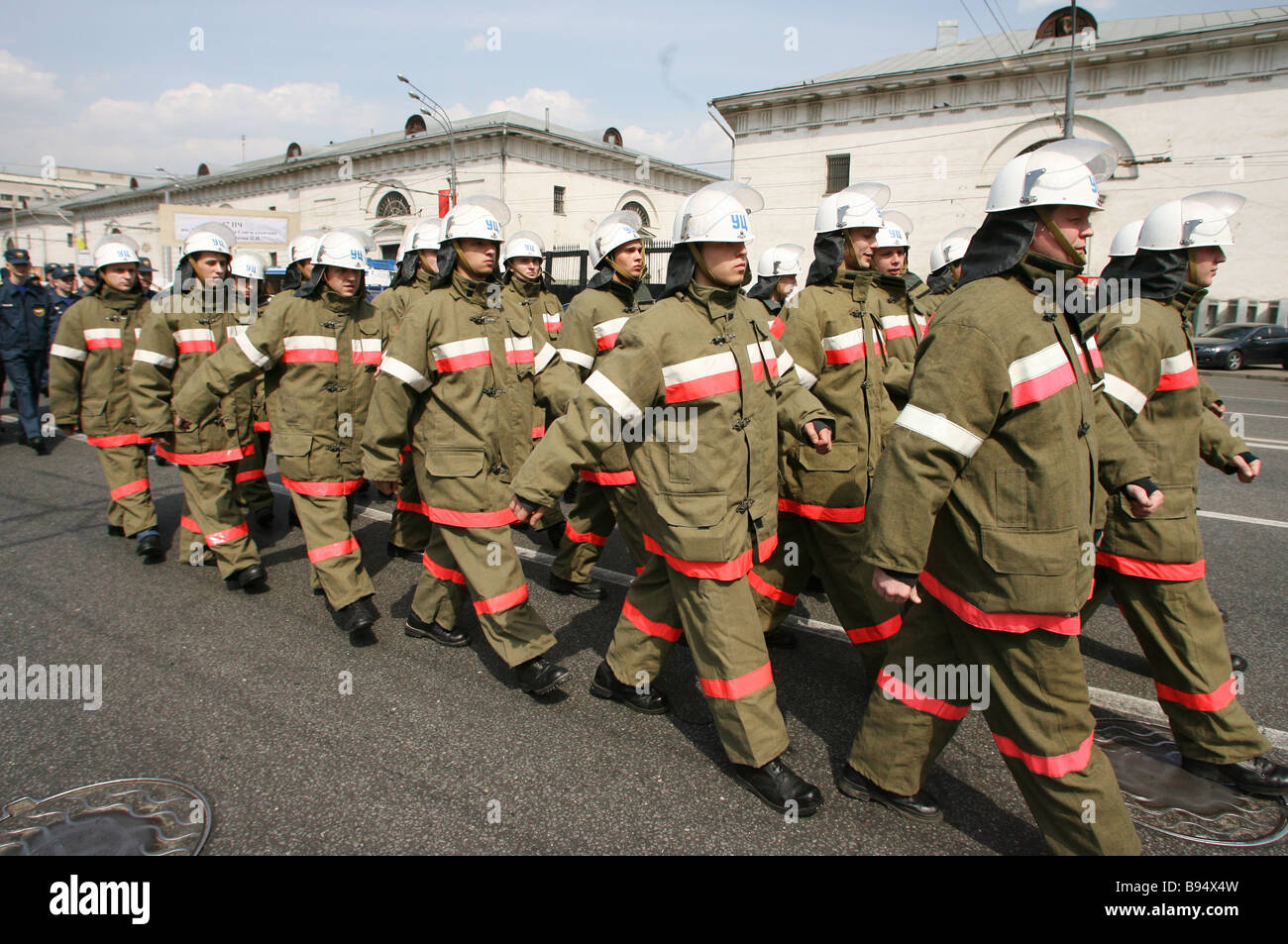 Firemen parade in Moscow s center on Fire Service Day - Stock Image